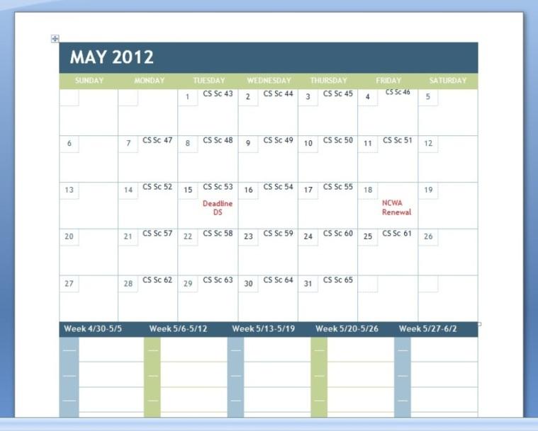 Sample Scene Calendar