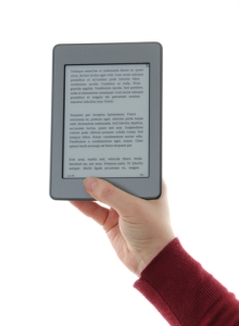 Hand holding an e-book