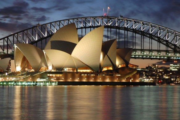 Night Sydney Opera House with Harbour Bridge