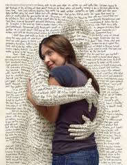 Woman hugging page